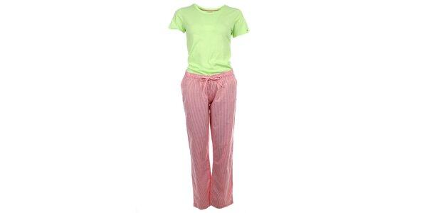 Dámské pyžamo - tričko s krátkým rukávem a pruhované kalhoty Tommy Hilfiger