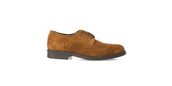 Pánské světle hnědé kožené oxfordky Crash Shoes