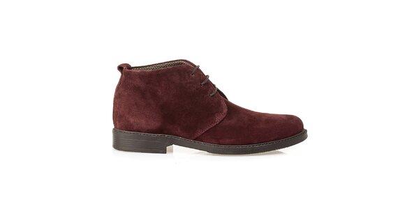 Pánské bordó kožené polobotky Crash Shoes