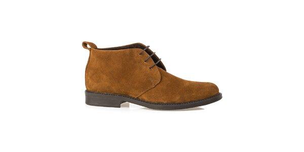 Pánské světle hnědé kožené polobotky Crash Shoes