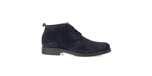 Pánské tmavomodré kožené polobotky Crash Shoes