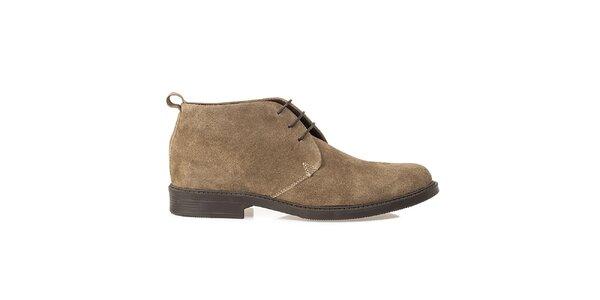 Pánské béžové kožené polobotky Crash Shoes