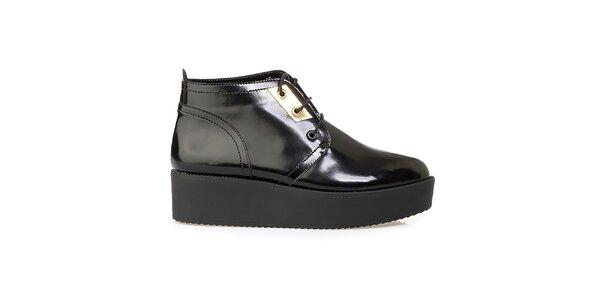 Dámské černé kotníkové boty na platformě Crash Shoes