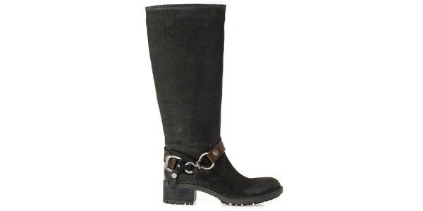 Dámské černé kozačky s přezkou na kotníku Crash Shoes
