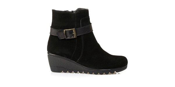 Dámské černé kotničkové boty na klínku Crash Shoes