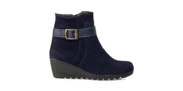 Dámské modré kotničkové boty na klínku Crash Shoes