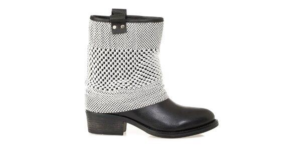 Dámské černé nízké kozačky s dekorativní aplikací Crash Shoes