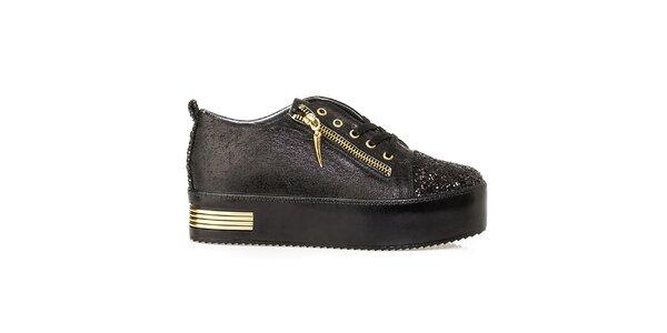 Dámské černé třpytivé tenisky na platformě Crash Shoes