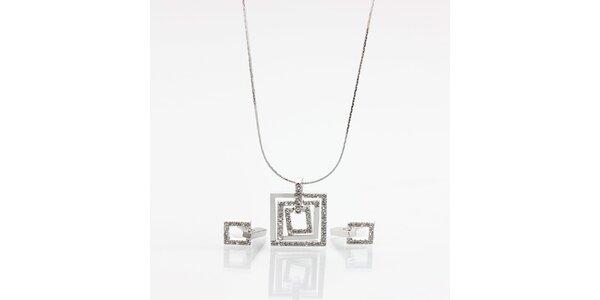 Dámský set náhrdelníku a náušnic hranatého tvaru Laura Bruni