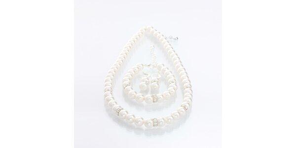 Perličkový set Laura Bruni - náhrdelník, náramek a náušnice
