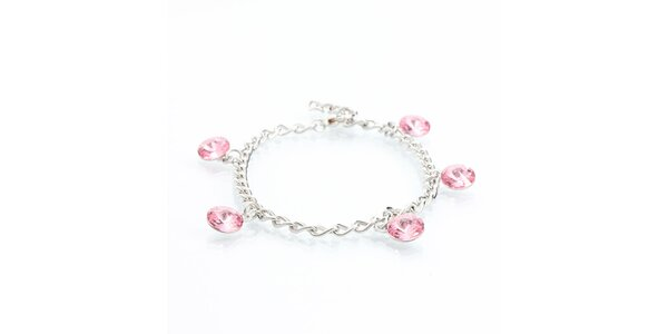 Dámský náramek se světle růžovými krystaly Laura Bruni
