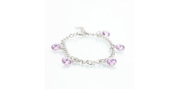 Dámský náramek se světle fialovými krystaly Laura Bruni