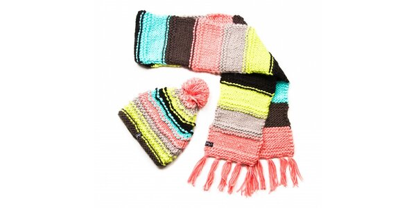 Dámský pestrobarevný proužkovaný pletený set Fundango