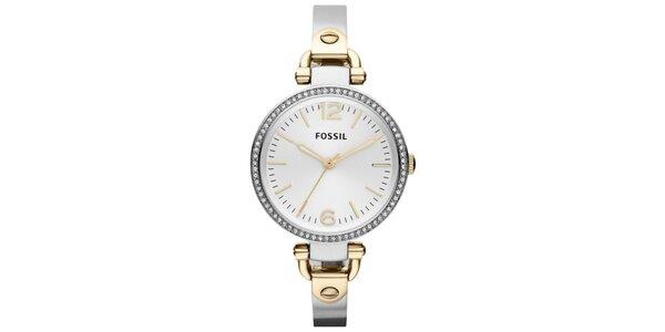 Dámské kulaté hodinky ve stříbrno-zlaté barvě s kamínky Fossil