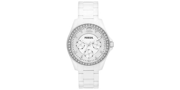 Dámské bílé analogové hodinky se zirkony Fossil