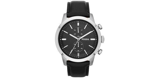 Pánské hodinky z nerezové oceli s černým koženým páskem Fossil