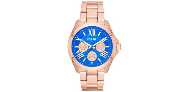 Dámské pozlacené hodinky s modrým ciferníkem Fossil