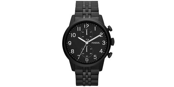 Pánské černé hodinky Fossil