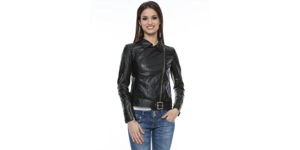 Dámská černá kožená bunda s přezkou Mangotti