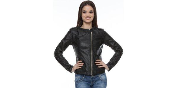 Dámská černá kožená bunda Mangotti