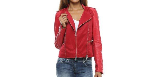 Dámská červená bunda s koženými rukávy Mangotti
