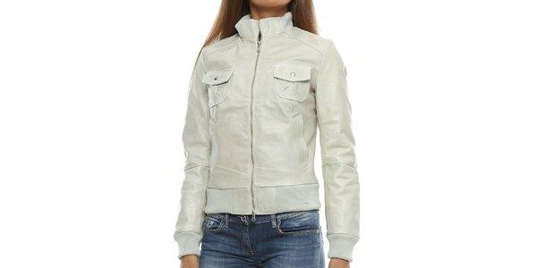 Dámská světlá kožená bunda s kapsami Mangotti