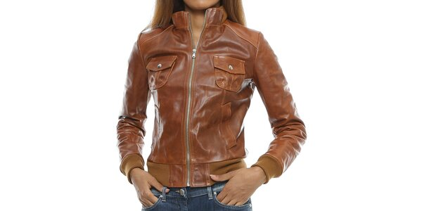 Dámská koňakově hnědá kožená bunda s kapsami Mangotti