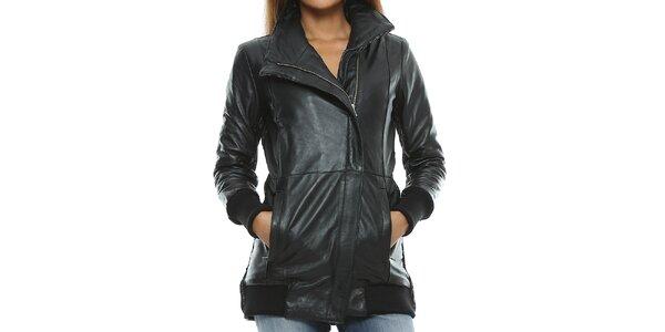 Dámský černý kožený kabát s pletenými zády Mangotti