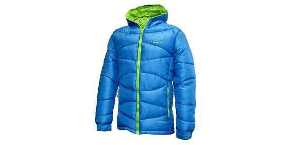 Pánská modrá prošívaná bunda se zeleným zipem Envy