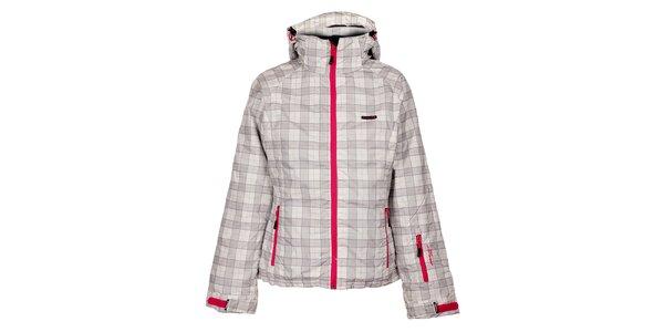 Dámská zimní kostkovaná bunda s růžovými lemy Envy