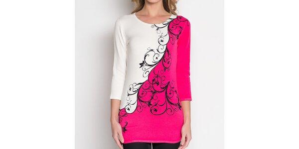 Dámská růžovo-bílá tunika se vzorem Imagini