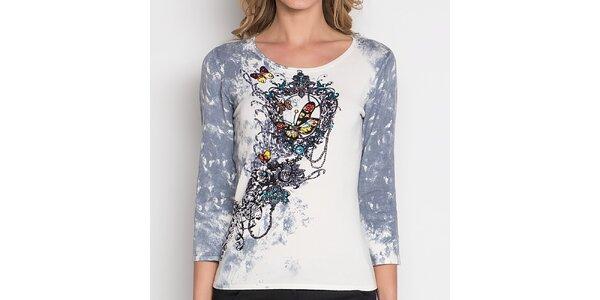 Dámské tričko s barevnou dekorativní aplikací Imagini