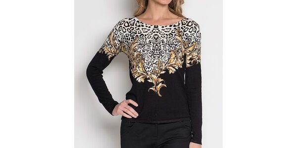 Dámský černý top s leopardím vzorem Imagini