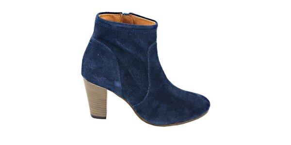Dámské tmavě modré semišové kotníčkové boty na podpatku Eye
