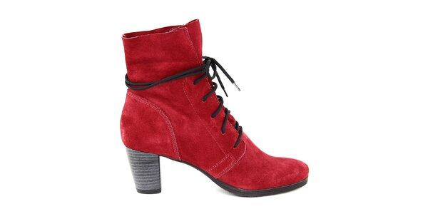 Dámské červené semišové šněrovací boty Eye