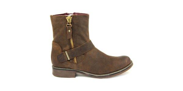 Dámské kotníkové hnědé boty s ozdobnými zipy Eye