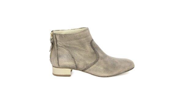 Dámské šedé kotníkové boty z kůže Eye