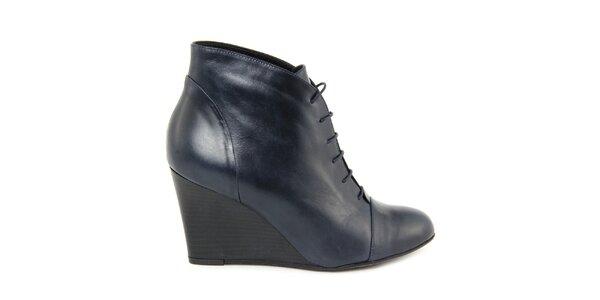 Dámské modré kotníkové boty na klínku Eye