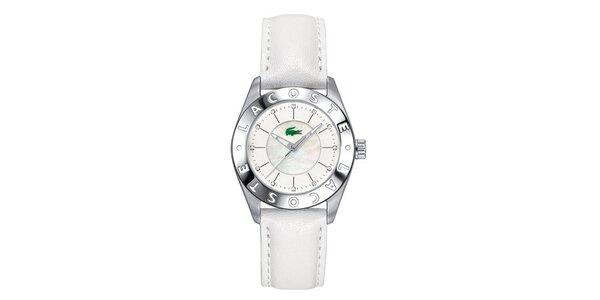 Dámské hodinky s bílým koženým páskem Lacoste