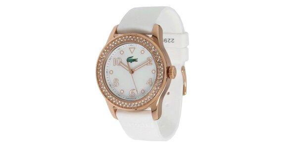 Dámské hodinky s bílým silikonovým páskem Lacoste