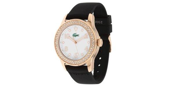 Dámské hodinky s černým silikonovým páskem Lacoste