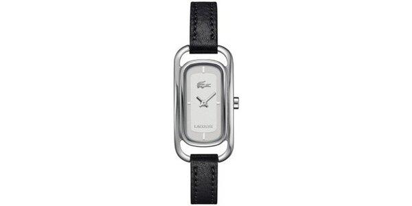 Dámské obdélníčkové hodinky s černým řemínkem Lacoste