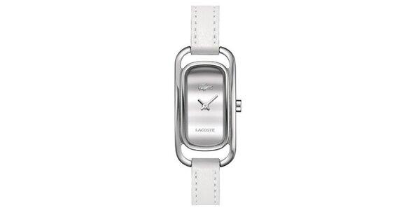 Dámské obdélníčkové hodinky s bílým řemínkem Lacoste