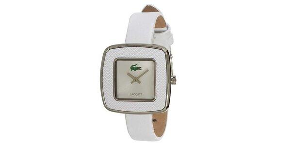 Dámské bílé hodinky s hranatým ciferníkem a zeleným logem Lacoste