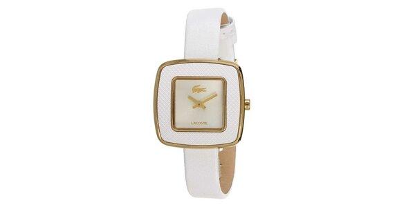Dámské bílé hodinky s hranatým ciferníkem a zlatým logem Lacoste