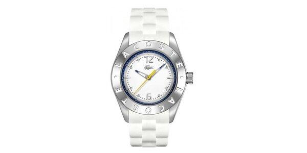 Dámské analogové hodinky s bílým páskem Lacoste