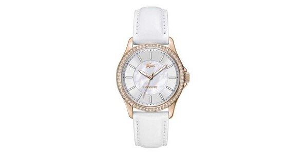 Dámské bílé hodinky s malými krystaly Lacoste