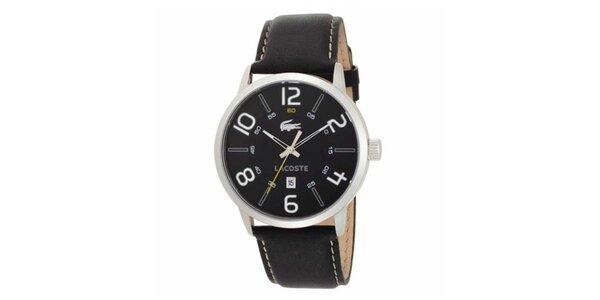 Pánské hodinky s černým koženým páskem Lacoste