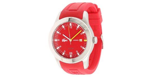 Pánské hodinky s červeným páskem Lacoste