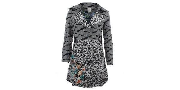Dámský šedý kabát se vzorem Dislay DY Design
